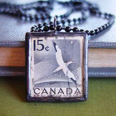 Soldered stamp pendant, $20