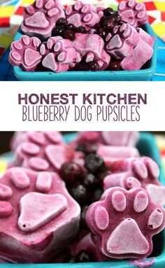Small and juicy, blueberries fit perfectly into these frozen dog treats. With just three ingredients, chances are you already have most of what you need in your kitchen! Puppy Treats, Diy Dog Treats, Homemade Dog Treats, Healthy Dog Treats, Dog Biscuit Recipes, Dog Treat Recipes, Dog Food Recipes, Food Dog, Frozen Dog Treats
