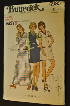 Dress and Jumper Misses Size 16 Bust 38 Vintage 1970s Uncut Sewing Pattern Butterick 6983