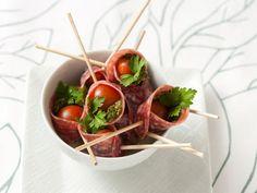 pesto & salami wrapped cherry tomatoes