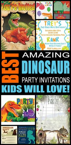 Dinosaur party invitations great for boys, girls, teens, tweens & adults. Find cool and fun dinosaur party invite ideas for your kids birthday, graduation, Summer and more. Awesome & cool designs! You can also do a DIY, Printable or template invites that are sometimes free. These are fun and a perfect fit for a any dinosaur party.