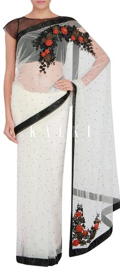 Buy Online from the link below. We ship worldwide (Free Shipping over US$100) http://www.kalkifashion.com/white-saree-in-net-embellished-with-kardana-only-on-kalki.html