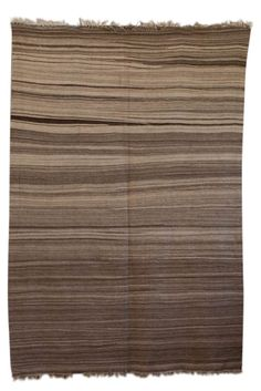 Moroccan striped Blanket handwoven wool brown beige rug from the M.Montague Souk…