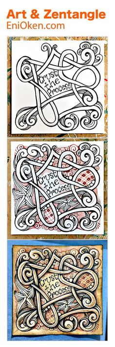 Tan Treasure is a technique using Renaissance brown and black pens to shade and treat Zentangle®️ art • enioken.com