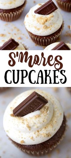 Our Smores Cupcakes bring all the flavors of your favorite summertime smores into a delicious hand held cake Marshmallow graham cracker crumbs chocolate all come together. Smores Dessert, Smores Cake, Dessert For Bbq, Smores Cupcake Recipe, Appetizer Dessert, Cupcakes Amor, Fun Cupcakes, Cupcake Cakes, Amazing Cupcakes