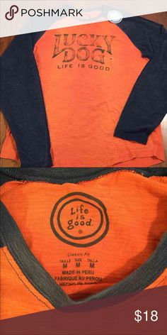 Life is Good Tee Orange and navy Lucky Dog baseball tee. Life is Good Shirts
