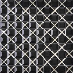 Diamond Mosaic 13 Face Black Mirror Glass Tiles