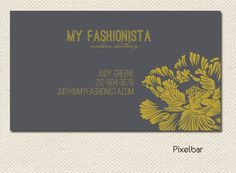 Modern Charcoal and Mustard Floral Business Card by pixelbar, $12.00