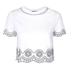 Petite Topshop Embroidered Crop Tee (90 PEN) ❤ liked on Polyvore featuring tops, t-shirts, shirts, crop top, blouses, blusas, scallop t shirt, white crew neck shirt, short sleeve shirts and embroidered t shirts