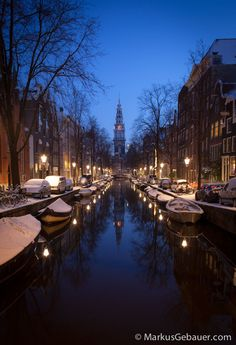 Winter at Zuiderkerk church and Groenburgwal canal by Markus Gebauer Photography on 500px