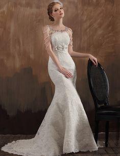 Luxury Mermaid Lace Train Vintage Wedding Dresses 1920s