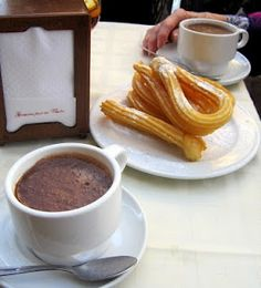 Delicious churros con chocolate in Madrid, Spain!