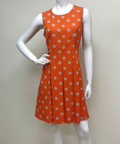 Look at this #zulilyfind! Orange & Beige Mod Polka Dot Fit & Flare Dress #zulilyfinds