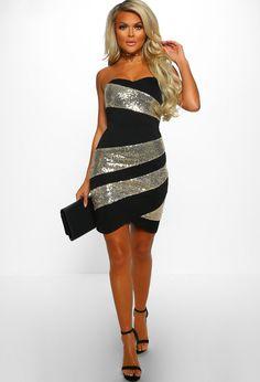 13955d4f No Love Tonight Black and Gold Sequin Strapless Mini Dress - 8