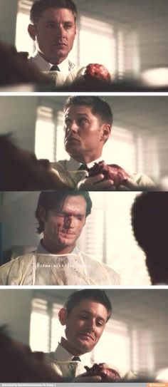 """Dean's just like """"Ha you get spleen juice from a dead guy on your face and all I gotta do is hold his heart."""""""