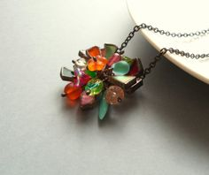 Contemporary jewelry rainbow necklace stained by ArtemisFantasy