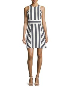 MILLY Milly Graphic-Striped Sleeveless Dress, Navy. #milly #cloth #