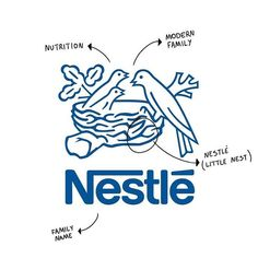 "Nestle reference name to the family name of Henry Nestle, which means ""nest"" in German!It reflects nutrition and the average modern family of two children! Best Logo Design, Brand Identity Design, Branding Design, Unique Logo, Modern Logo, Nest Logo, Logos Meaning, Hipster Logo, Artist Logo"