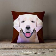 A series of gabardine pillowcases featuring geometric prints of dogs.