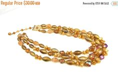 Vintage Three Strand Plastic Faux Crystal Floral by TheFashionDen