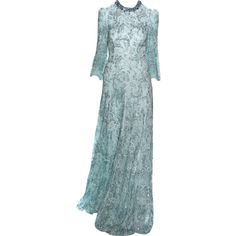 jenny packham - edited by mlleemilee ❤ liked on Polyvore featuring dresses, gowns, long dress, blue evening gown, blue evening dresses, jenny packham, blue ball gown and jenny packham dresses
