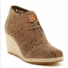 New in box! Toms desert wedge! Brand new! Never worn!! Price is firm! Sold out everywhere!! TOMS Shoes Ankle Boots & Booties