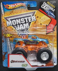 HOT WHEELS MONSTER JAM OBSESSED 2013 EDGE GLOW ROLL CAGE CRUSHABLE CAR #HotWheels