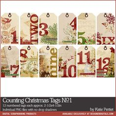 Counting Christmas Tags No. 01 (EL554502) Digital Scrapbooking Elements DesignerDigitals by Katie Pertiet - Whether it's an advent calendar project, days of December pages or something else these tags...