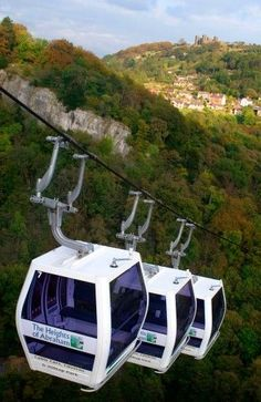 The new cable cars at the Heights of Abraham in Matlock Bath, Peak District, Derbyshire, England