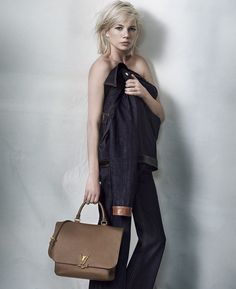 The new Volta leather handbag in Louis Vuitton's latest campaign with Michelle Williams