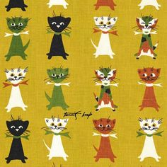 vintage cats fabric