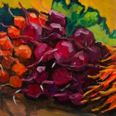 Root Veggies 8x8 oil on canvas $125, painting by artist Elizabeth Fraser