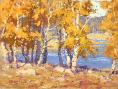"""""""Aspens by a Lake"""" Ron Rencher"""