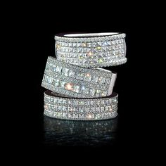 Bez Ambar wedding bands with blaze diamonds.