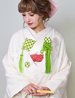 白無垢に緑  白無垢 着物ウェディング 和婚