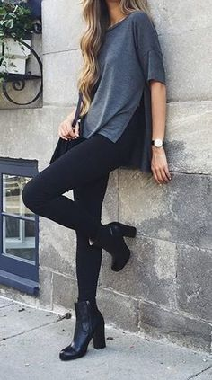 Cute and stylish outfit: blue tee, black jeans, with black booties. Add accessories to your taste.