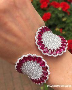 Diamond Bracelets Cuffs & Bangles : London Jewelers Its a moody ruby kind of Monday London J Red Jewelry, High Jewelry, Luxury Jewelry, Diamond Bracelets, Bangle Bracelets, Bangles, Ladies Bracelet, Silver Bracelets, Gold Armband