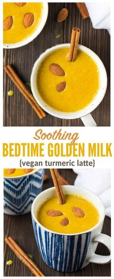 Soothing Bedtime Golden Milk - How to make a warm vegan turmeric latte before bed to help you sleep! Easy recipe that's anti-inflammatory, fights colds, and offers other health benefits too! #Smoothies