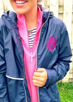 Monogram rain jacket from tinytulip.com