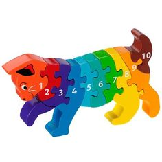 This playful wooden cat number jigsaw puzzle from fair trade toy supplier Lanka Kade is perfect for young children. Wooden Jigsaw, Wooden Cat, Wooden Puzzles, Jigsaw Puzzles, Puzzles For Kids, Scroll Saw, Wood Toys, Fair Trade, Kids Toys