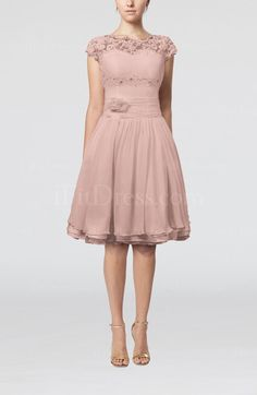 Dusty Rose Cinderella Scalloped Edge Short Sleeve Chiffon Knee Length Lace Bridesmaid Dresses - iFitDress.com