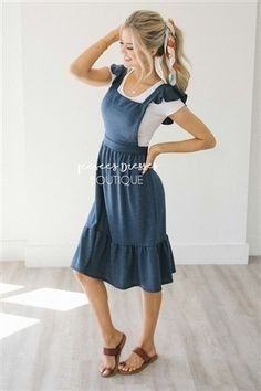 Harper Overall Ruffle Sleeve Dress Maybe different shoes, no jewelry, maybe the dress a little longer, and maybe not the hair bow Dresses For Teens, Trendy Dresses, Day Dresses, Cute Dresses, Casual Dresses, Dresses With Sleeves, Floral Dresses, Church Dresses, Junior Dresses