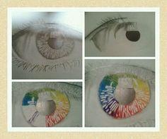 #plasticatocha15 Desarrollo del trabajo sobre la teoría del color. Ojo dibujado primero a lápiz 6B y pupila pintada con ceras blandas de los colores primarios y secundarios.