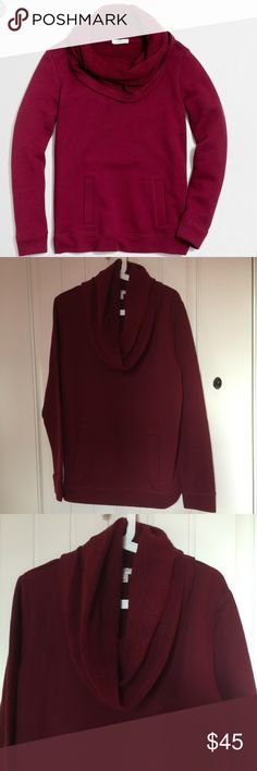 J Crew Funnel Neck Sweater Brand new funnel neck sweater. Maroon color with pocket in front. Long sleeves. 48% cotton 26% acrylic 16% wool 10% nylon. Machine wash J. Crew Sweaters