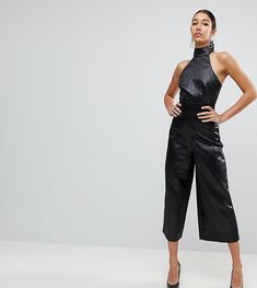 a89adfb0221 ASOS TALL Jumpsuit in Jacquard with Buckle Detail - Black Jumpsuit