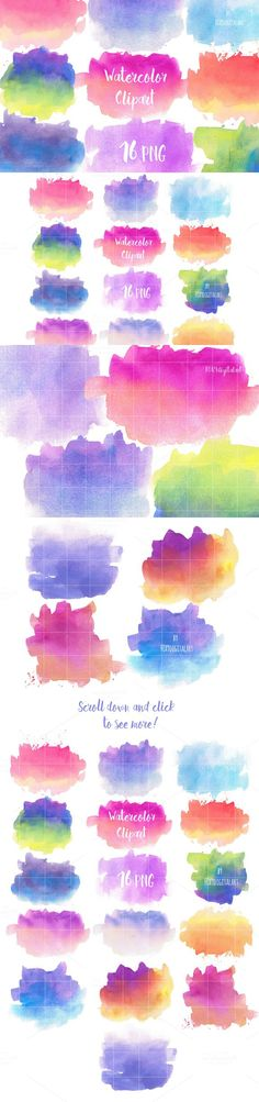 Watercolor Splotches Clipart. Textures. $12.00