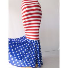 Usa Mermaid Scale Skirt Stretch Stunning Red White and Blue Skirt... ($49) ❤ liked on Polyvore featuring skirts, grey, women's clothing, red striped skirt, red stripe skirt, blue and white striped skirt, fish skirt and red white and blue skirt