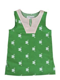 Petit Peony Green Swans Simple Tunic
