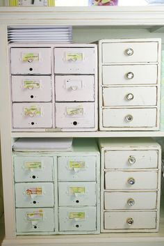 Perfect little painted drawers to organize all your crafty things!  Also great for sorting different files in the office!