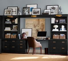 Reynolds Home Office Suite- love the look with the baskets and the map behind.